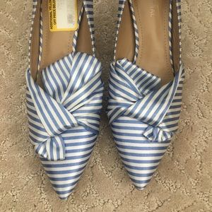 Gunmetal stripe satin kitten heels